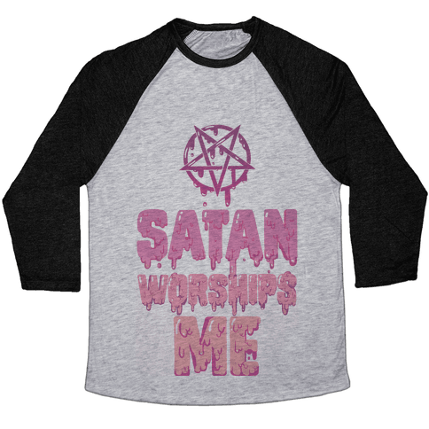 Satan Worships Me Baseball Tee