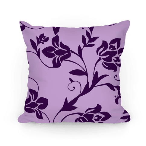 Purple Floral Pattern Pillow