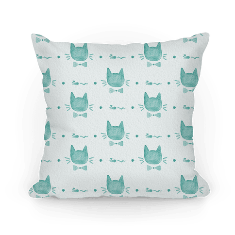 Turquoise Watercolor Cat Bow Tie Pattern Pillow
