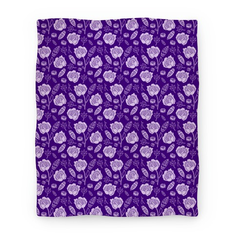Floral and Leaves Pattern (Purple) Blanket