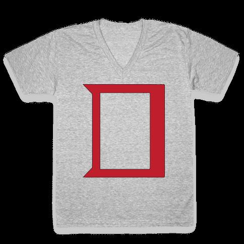 Daring Yellow Devil Logo V-Neck Tee Shirt