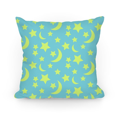 Moon And Stars Pattern Pillow