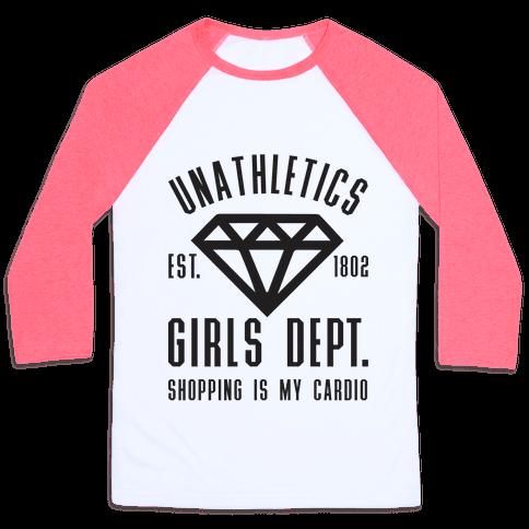 Unathletics Girls Department Shopping Is My Cardio Baseball Tee