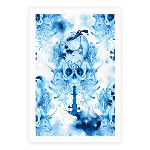 221B Sherlock Skull Watercolor Poster