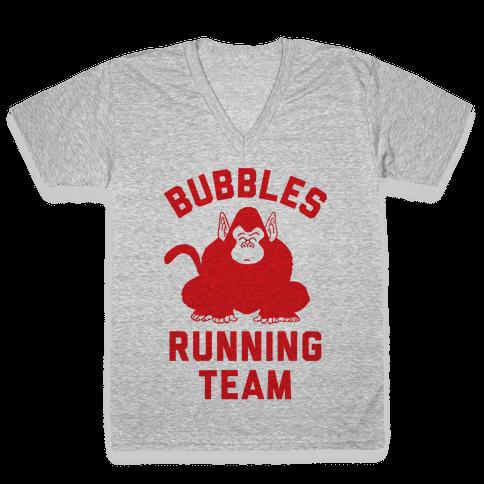 Bubbles Running Team V-Neck Tee Shirt