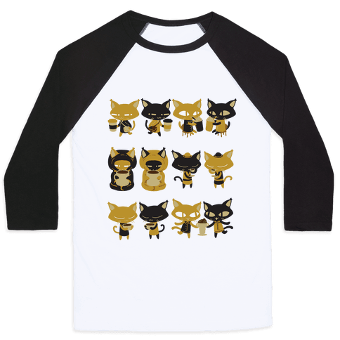 Coffee Cats Baseball Tee