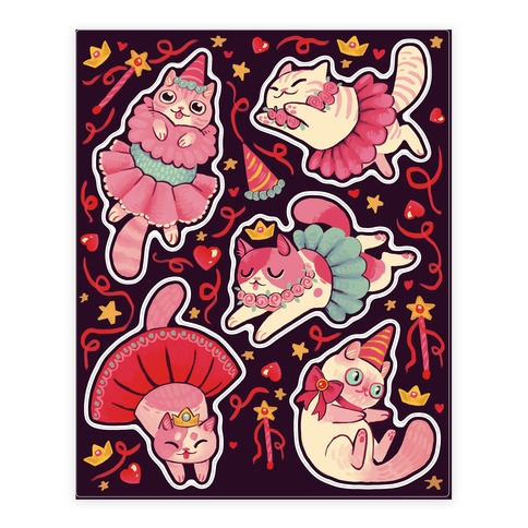 Cute Princess Cat  Sticker/Decal Sheet