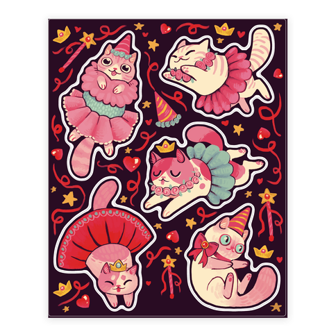 Cute Princess Cat Sticker and Decal Sheet