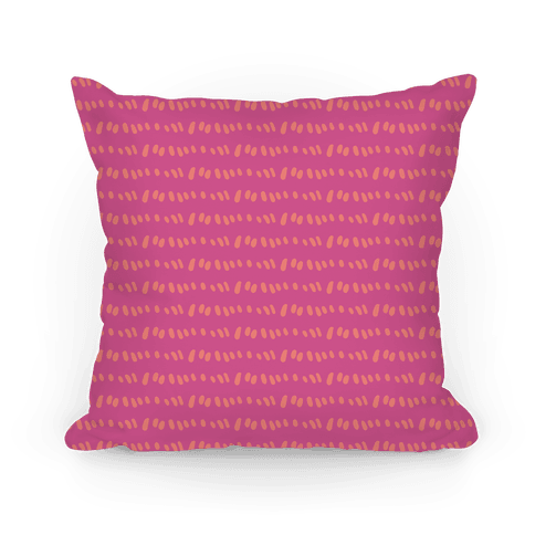 Doodle Sewing Stitches Pattern (Pink) Pillow