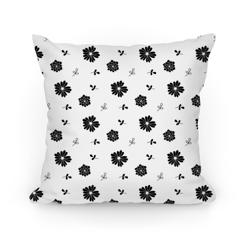 Black and White Floral Tossed Pattern Pillow