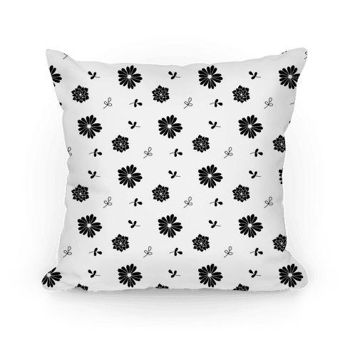 Black and White Floral Tossed Pattern