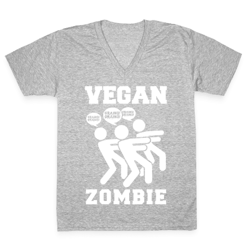 Vegan Zombie V-Neck Tee Shirt