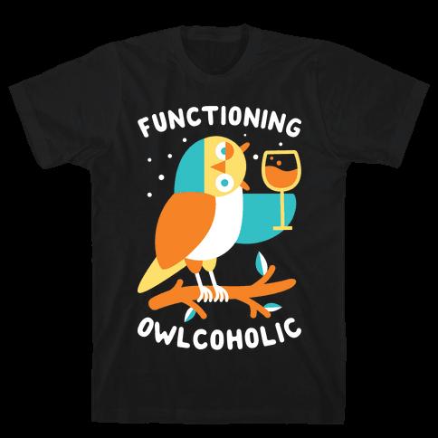 Functioning Owlcoholic Mens T-Shirt