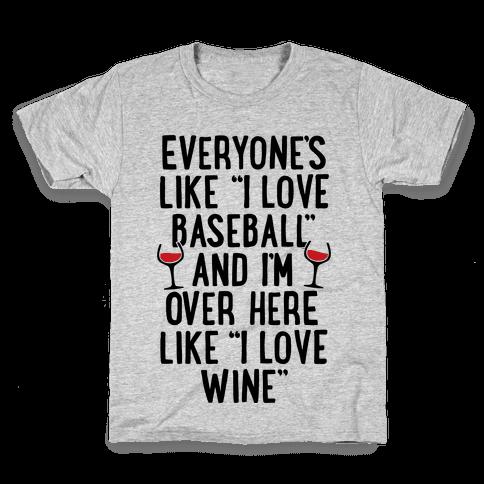 Baseball And Wine Kids T-Shirt