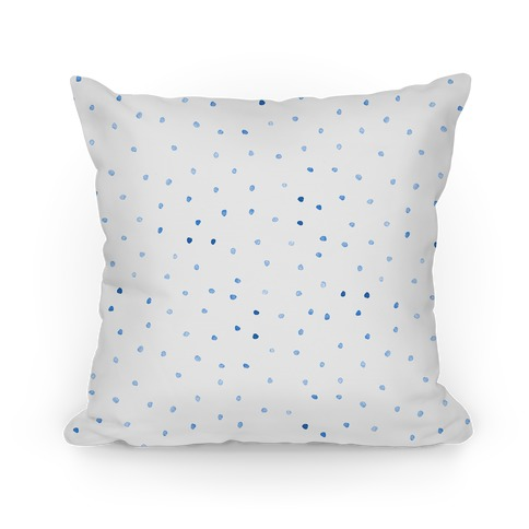 Blue Watercolor Polka Dots Pillow