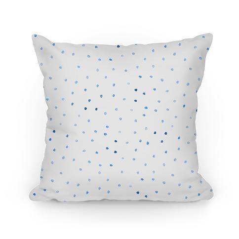 Blue Watercolor Polka Dots Pillow