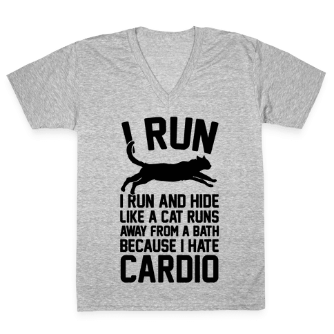 I Run Like A Cat V-Neck Tee Shirt