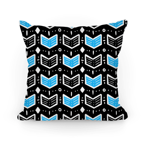 Black and Blue Tribal Doodle Pattern Pillow