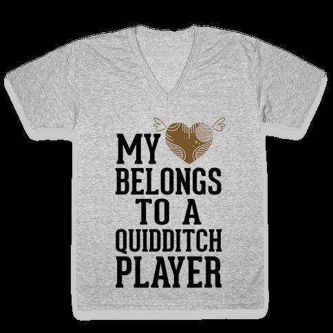 My Heart Belongs To A Quidditch Player V-Neck Tee Shirt