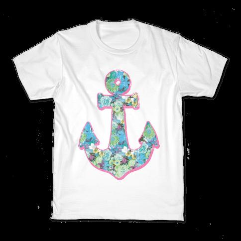Floral Anchor (Aqua) Kids T-Shirt