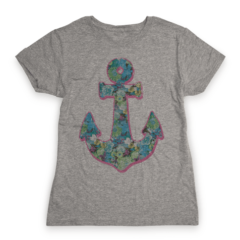 Floral Anchor (Aqua) Womens T-Shirt