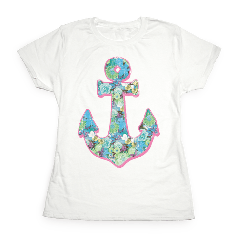 Floral Anchor (Aqua) Womens T-Shirt