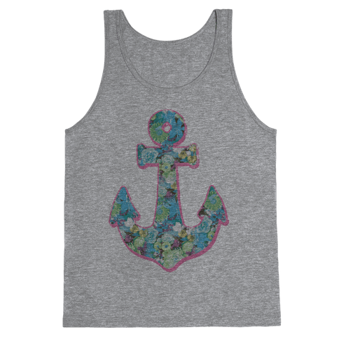 Floral Anchor (Aqua) Tank Top