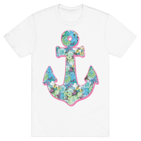 Floral Anchor (Aqua) Mens T-Shirt