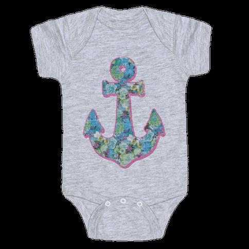 Floral Anchor (Aqua) Baby Onesy