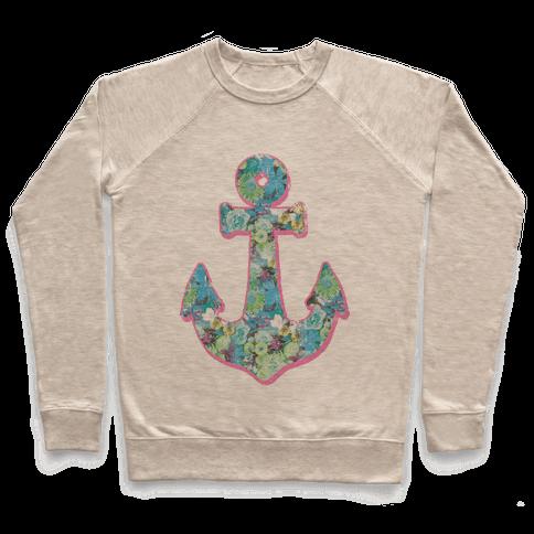Floral Anchor (Aqua) Pullover