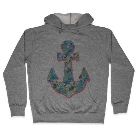 Floral Anchor (Aqua) Hooded Sweatshirt