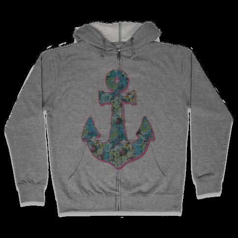 Floral Anchor (Aqua) Zip Hoodie