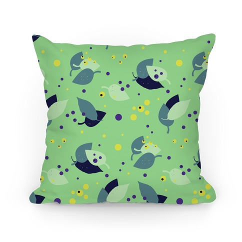 Green Forest Floor Leaves Pattern Pillow