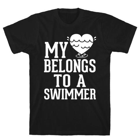 My Heart Belongs To A Swimmer (White Ink) Mens T-Shirt