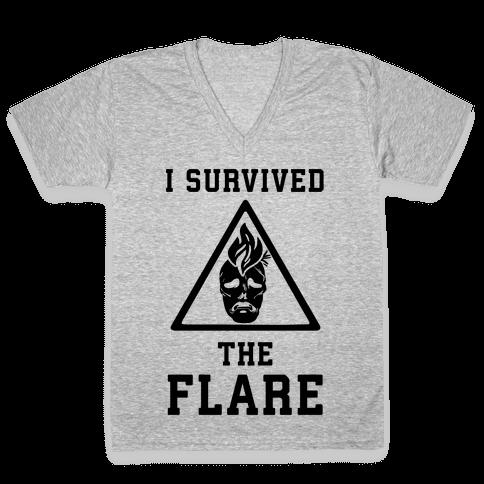 I Survived The Flare V-Neck Tee Shirt