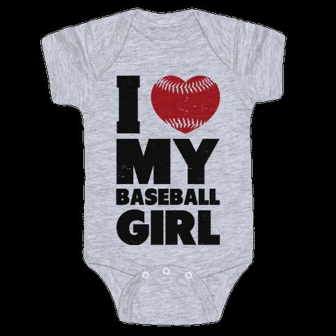 I Love My Baseball Girl Baby Onesy