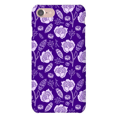 Floral and Leaves Pattern (Purple) Phone Case
