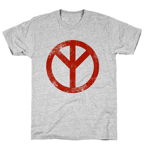 Reversed Peace Sign (Vintage) Mens T-Shirt