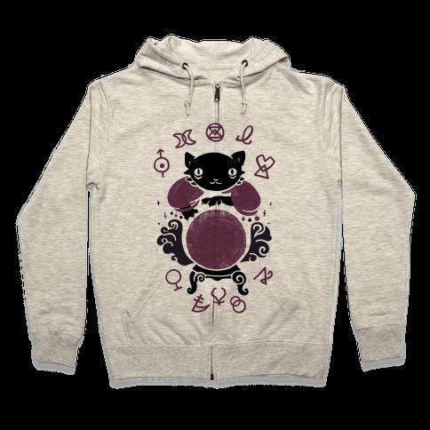 Lucky Tarot Cat #13 Zip Hoodie