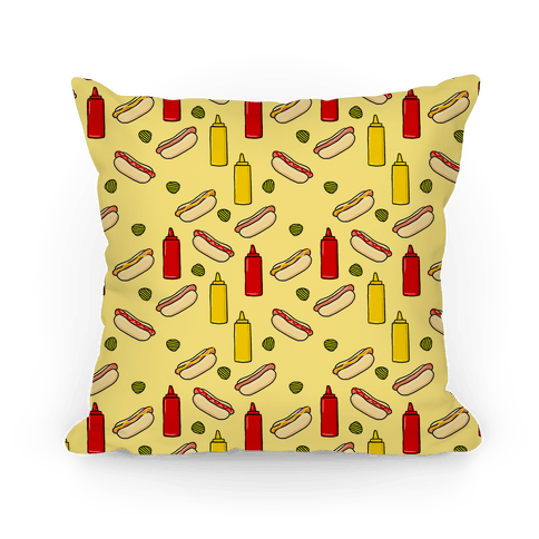 Hot Dog Pattern Pillow