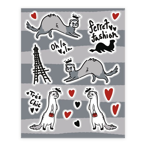 French Fashion Model Ferrets Sticker and Decal Sheet