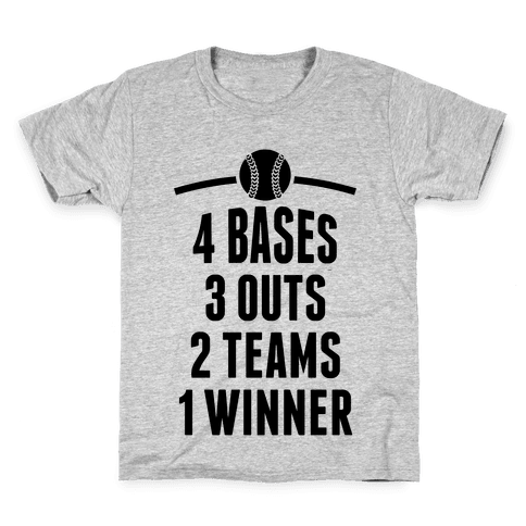 4 Bases, 3 Outs, 2 Teams, 1 Winner (Softball) Kids T-Shirt