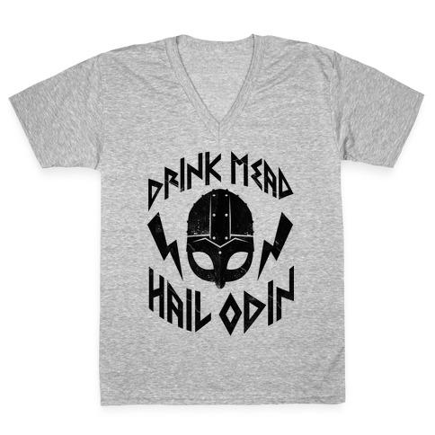 Drink Mead Hail Odin V-Neck Tee Shirt