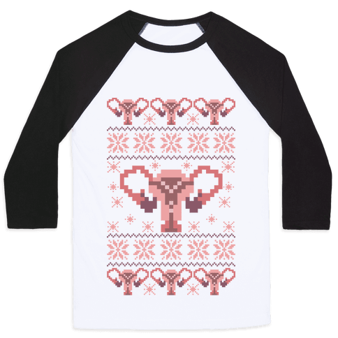 Uterus Sweater Pattern Baseball Tee