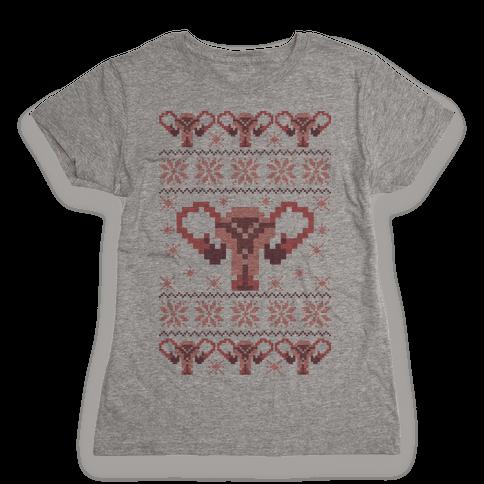 Uterus Sweater Pattern Womens T-Shirt