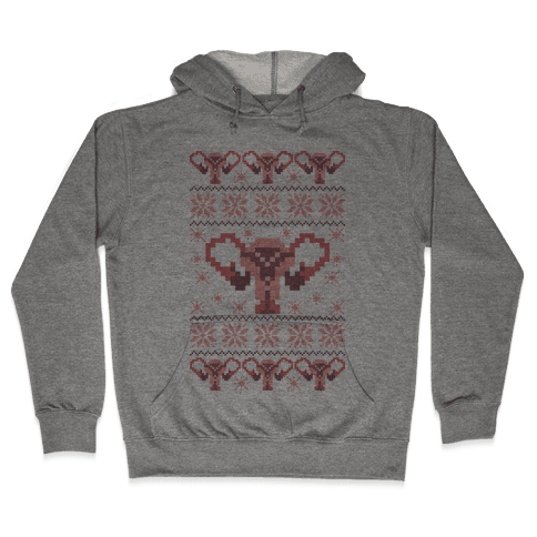 Uterus Sweater Pattern Hooded Sweatshirt