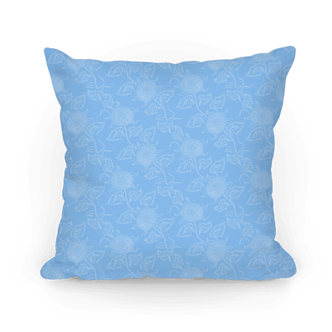 Simple Blue Floral Pattern Pillow