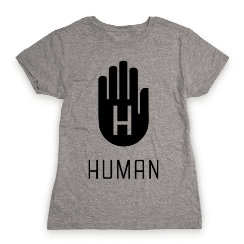 The HUMAN Hand Black Womens T-Shirt