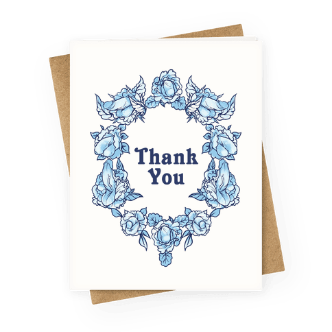 Thank You Floral Penis Greeting Card