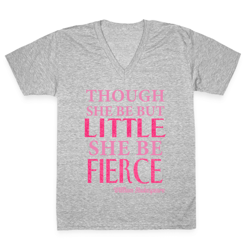 Little But Fierce (Gym Diva) V-Neck Tee Shirt